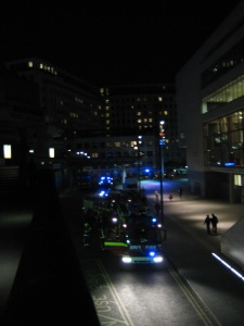 Fire engines arrived at the Queen Elizabeth Hall