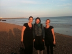Zoe (middle) after her swim with Megan on the left and Rebecca on the right