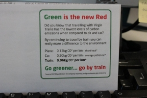 Virgin Trains talk about their Carbon Emissions on the ticket wallet