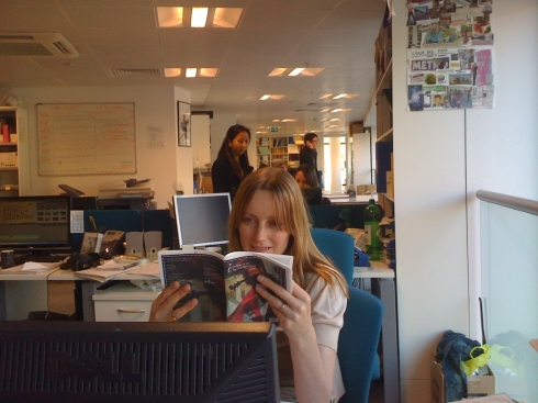 Katy reading our new brochure