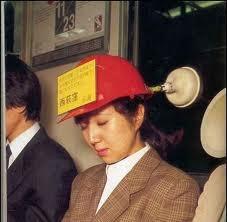 woman asleep on train