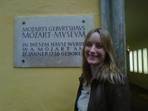 Press Manager Katy Bell outside Mozart's House